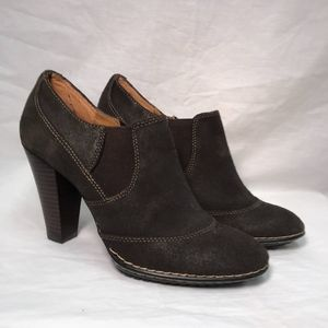 Softt Brown Leather Heeled Bootie - Size 7